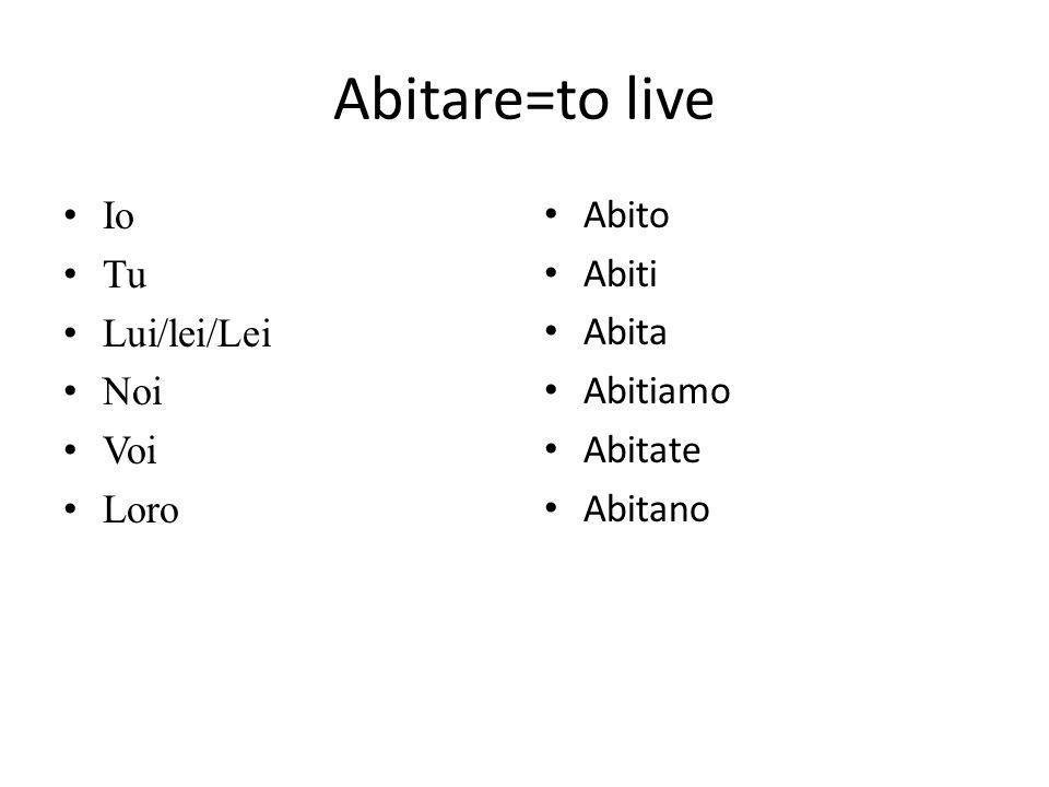 Abitare=to live Io Tu Lui/lei/Lei Noi Voi Loro Abito Abiti Abita Abitiamo Abitate Abitano