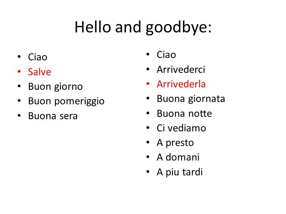 Hello and goodbye: Ciao Salve Buon giorno Buon pomeriggio Buona sera Ciao Arrivederci Arrivederla Buona giornata Buona notte Ci vediamo A presto A dom