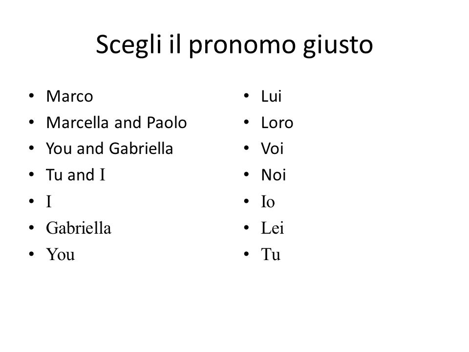 Scegli il pronomo giusto Marco Marcella and Paolo You and Gabriella Tu and I I Gabriella You Lui Loro Voi Noi Io Lei Tu