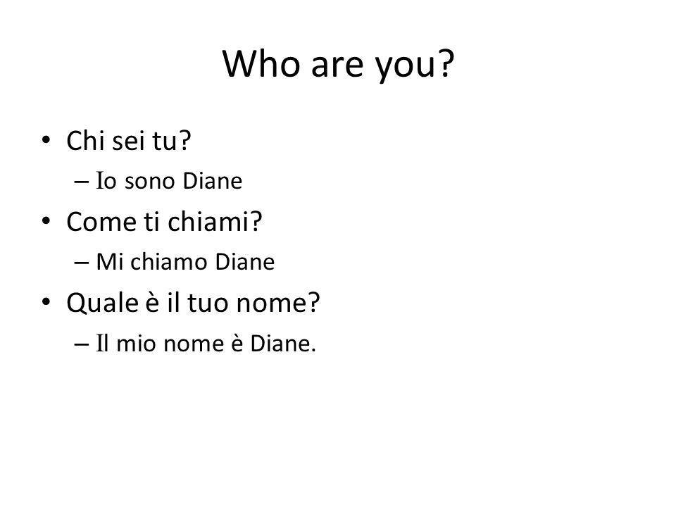 Who are you? Chi sei tu? – I o sono Diane Come ti chiami? – Mi chiamo Diane Quale è il tuo nome? – I l mio nome è Diane.