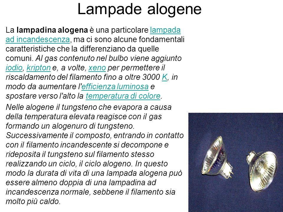 Lampade alogene La lampadina alogena è una particolare lampada ad incandescenza, ma ci sono alcune fondamentali caratteristiche che la differenziano d