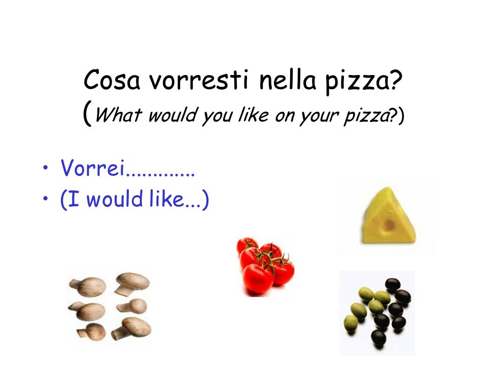 Cosa vorresti nella pizza. ( What would you like on your pizza ) Vorrei