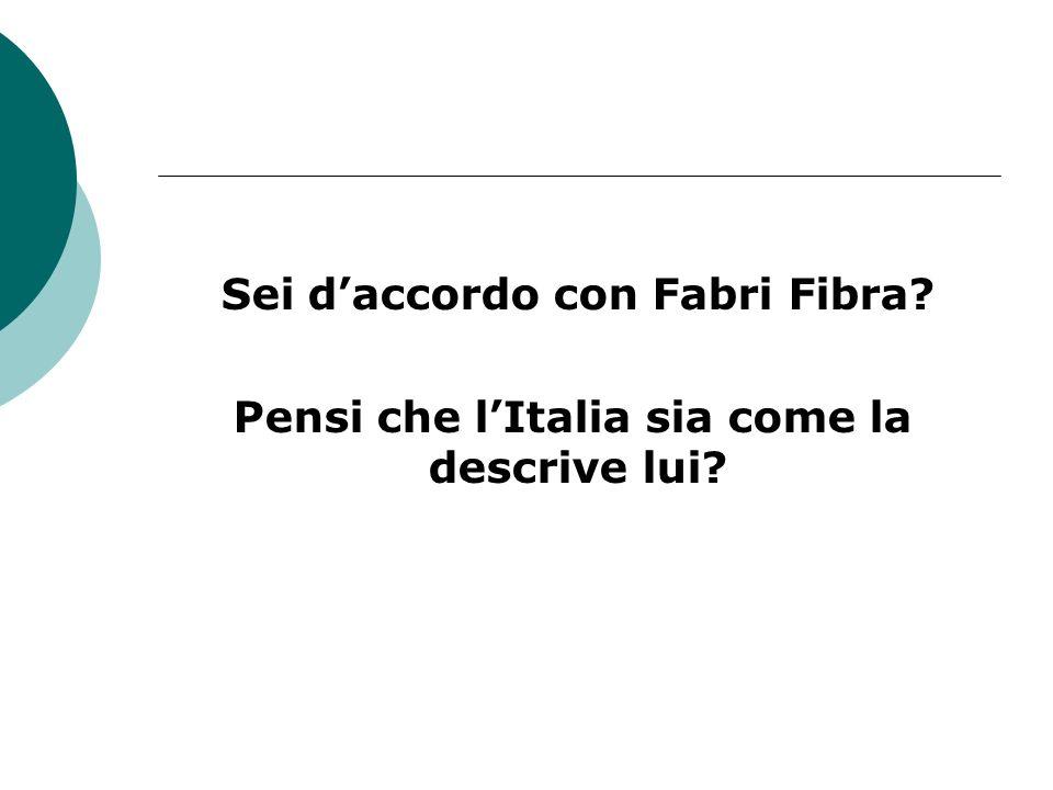 Sei daccordo con Fabri Fibra? Pensi che lItalia sia come la descrive lui?