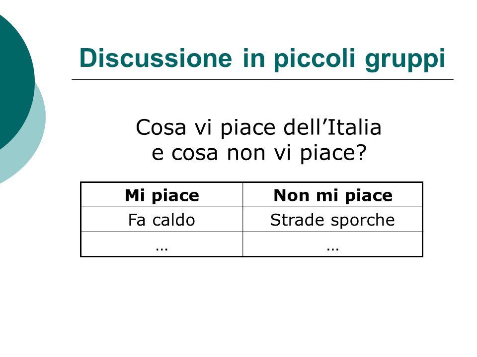Discussione in piccoli gruppi Cosa vi piace dellItalia e cosa non vi piace? Mi piaceNon mi piace Fa caldoStrade sporche ……