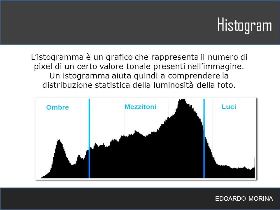 Histogram EDOARDO MORINA Listogramma è un grafico che rappresenta il numero di pixel di un certo valore tonale presenti nellimmagine. Un istogramma ai