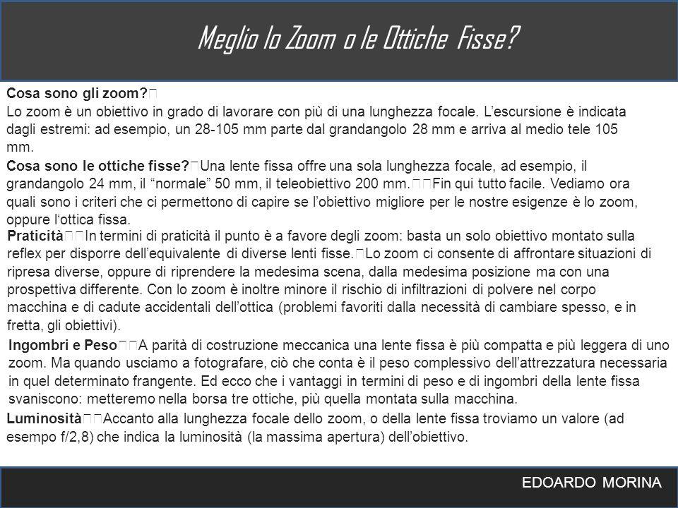 EDOARDO MORINA Cosa sono gli zoom? Lo zoom è un obiettivo in grado di lavorare con più di una lunghezza focale. Lescursione è indicata dagli estremi: