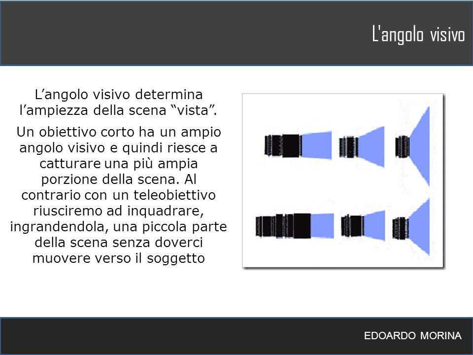 L'angolo visivo EDOARDO MORINA Langolo visivo determina lampiezza della scena vista. Un obiettivo corto ha un ampio angolo visivo e quindi riesce a ca