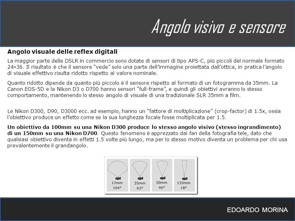 EDOARDO MORINA Angolo visivo e sensore Angolo visuale delle reflex digitali La maggior parte delle DSLR in commercio sono dotate di sensori di tipo AP