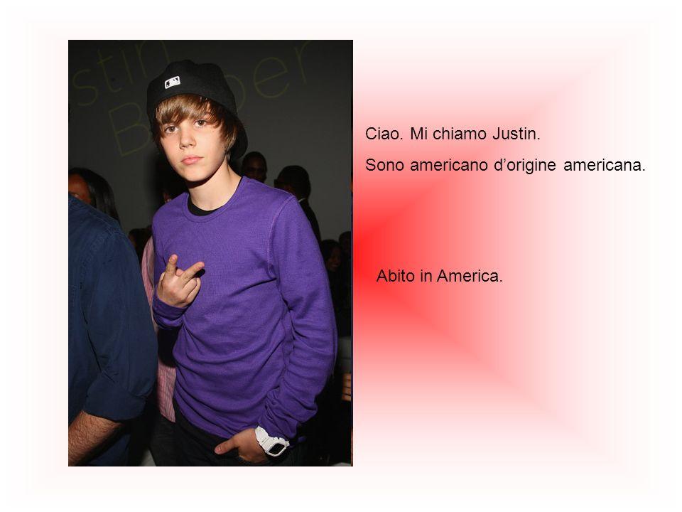 Ciao. Mi chiamo Justin. Sono americano dorigine americana. Abito in America.