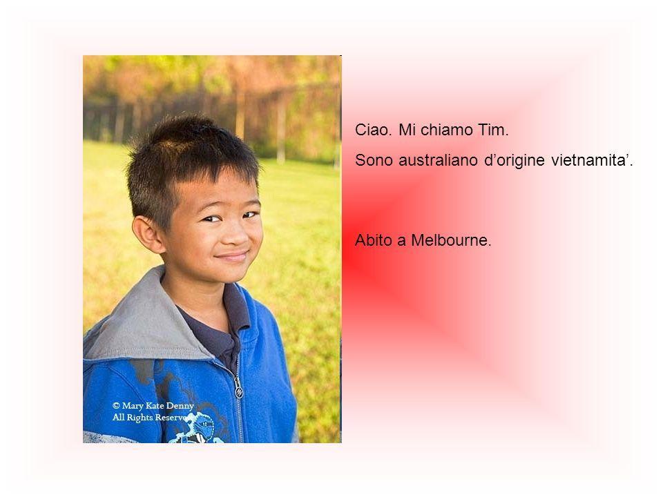 Ciao. Mi chiamo Tim. Sono australiano dorigine vietnamita. Abito a Melbourne.