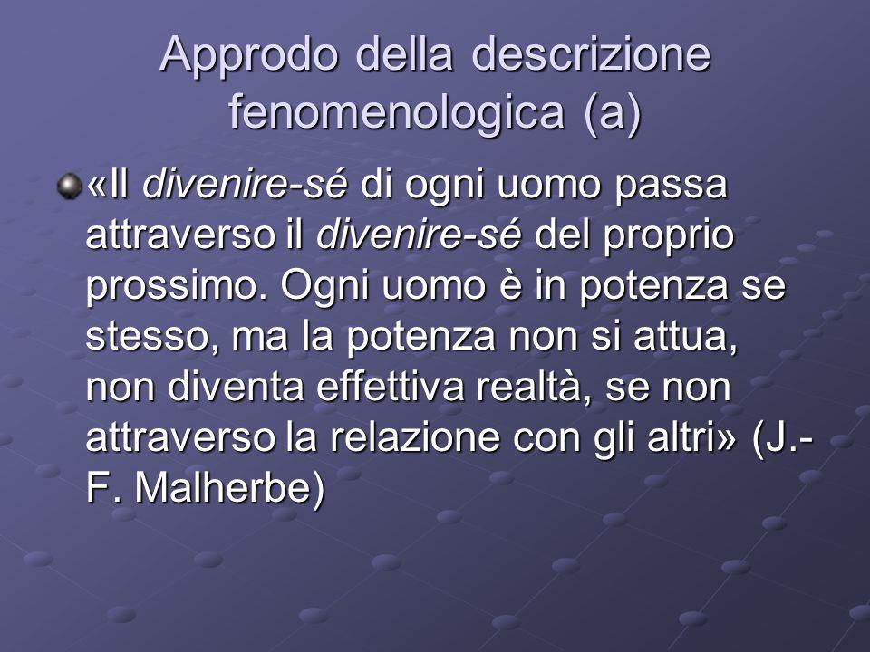 Approdo della descrizione fenomenologica (a) «Il divenire-sé di ogni uomo passa attraverso il divenire-sé del proprio prossimo.