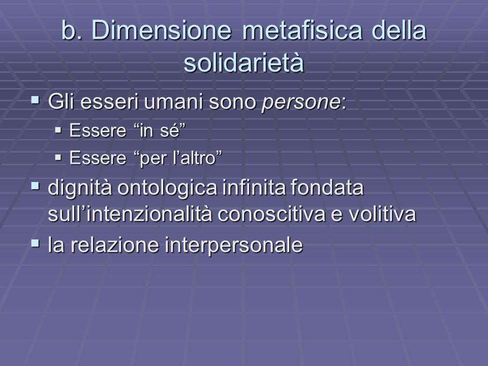 b. Dimensione metafisica della solidarietà Gli esseri umani sono persone: Gli esseri umani sono persone: Essere in sé Essere in sé Essere per laltro E