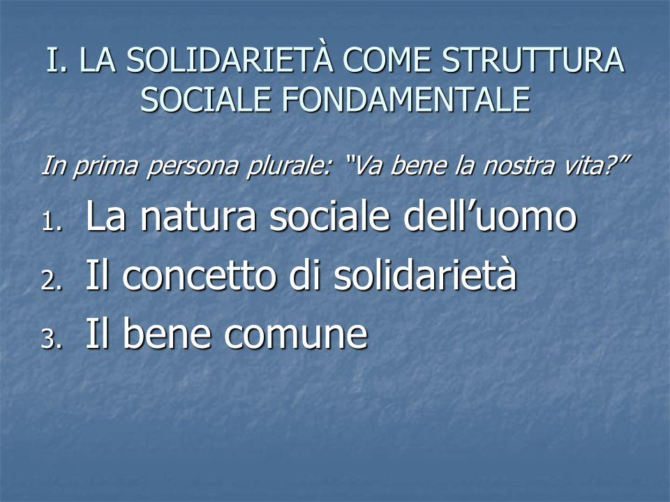 I. LA SOLIDARIETÀ COME STRUTTURA SOCIALE FONDAMENTALE In prima persona plurale: Va bene la nostra vita? 1. La natura sociale delluomo 2. Il concetto d