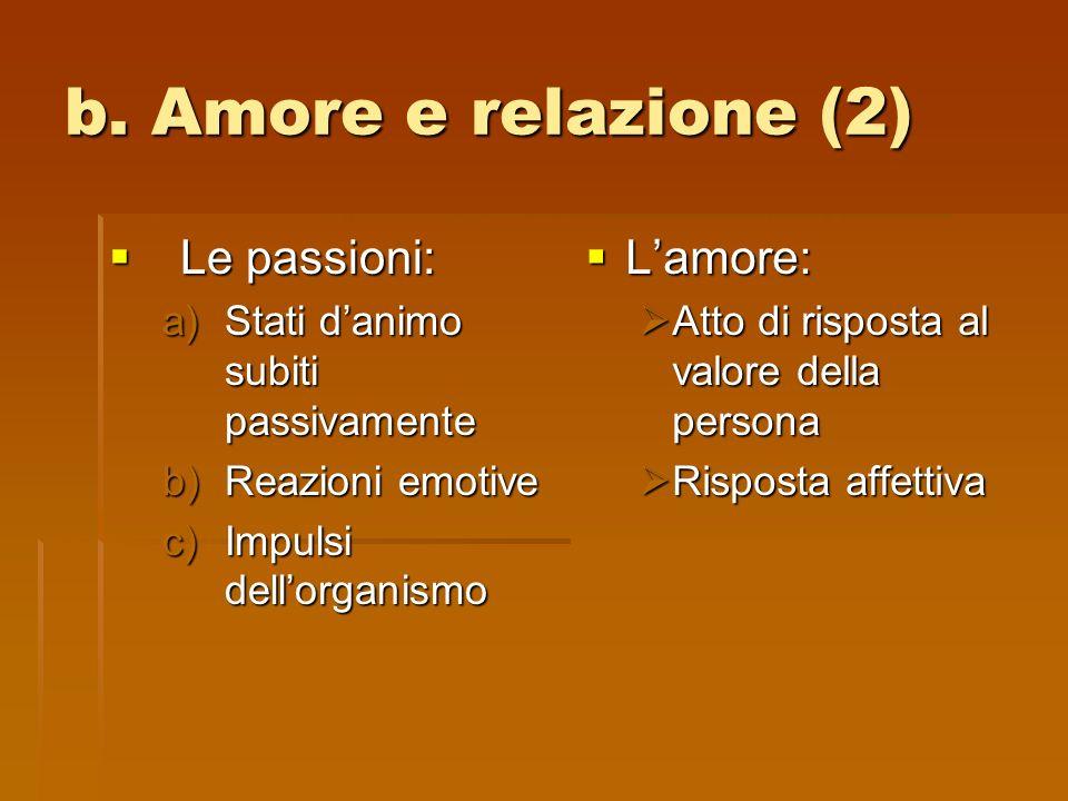 b. Amore e relazione (2) Le passioni: Le passioni: a)Stati danimo subiti passivamente b)Reazioni emotive c)Impulsi dellorganismo Lamore: Lamore: Atto