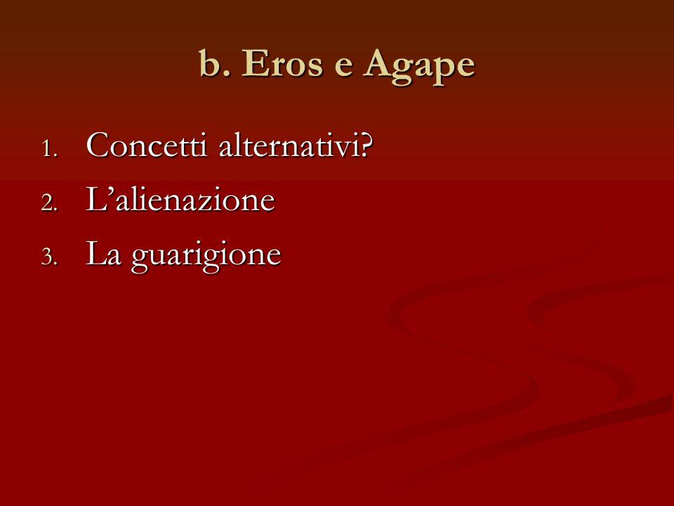 b. Eros e Agape 1. Concetti alternativi 2. Lalienazione 3. La guarigione