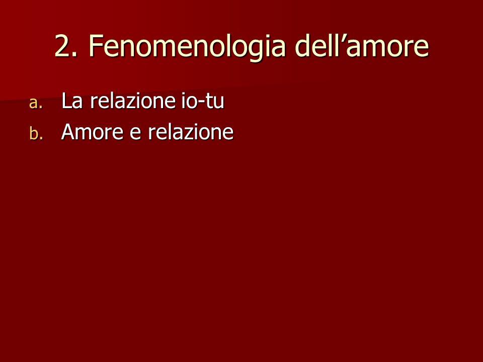 2. Fenomenologia dellamore a. La relazione io-tu b. Amore e relazione