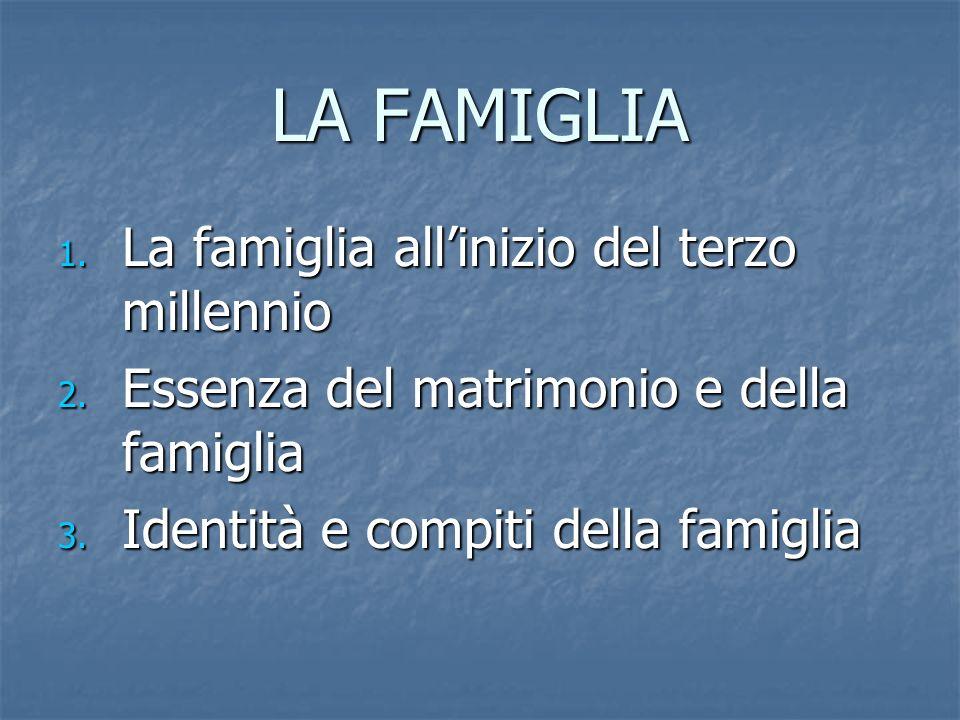 La famiglia allinizio del terzo millennio 1.Evoluzione della famiglia attraverso la modernità 2.