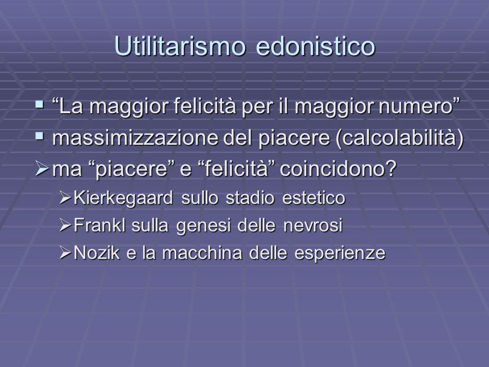 Utilitarismo edonistico La maggior felicità per il maggior numero La maggior felicità per il maggior numero massimizzazione del piacere (calcolabilità