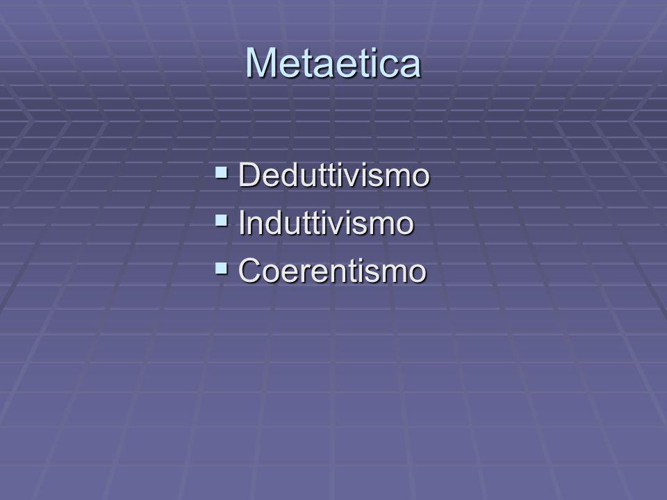 Metaetica Deduttivismo Deduttivismo Induttivismo Induttivismo Coerentismo Coerentismo