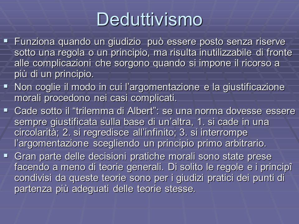 Deduttivismo Funziona quando un giudizio può essere posto senza riserve sotto una regola o un principio, ma risulta inutilizzabile di fronte alle comp