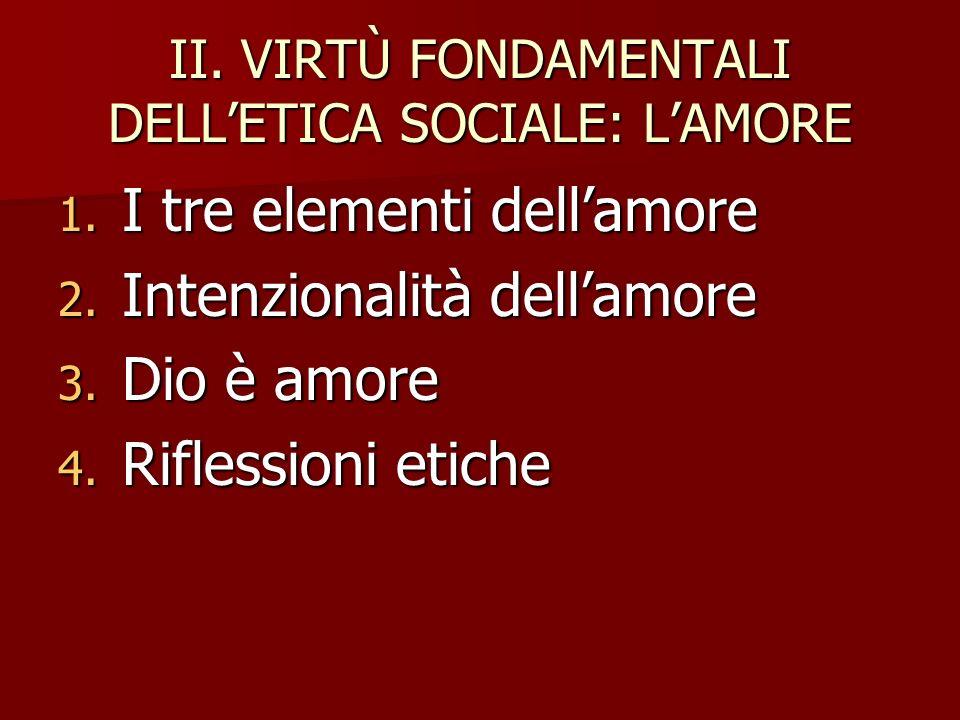 II. VIRTÙ FONDAMENTALI DELLETICA SOCIALE: LAMORE 1. I tre elementi dellamore 2. Intenzionalità dellamore 3. Dio è amore 4. Riflessioni etiche