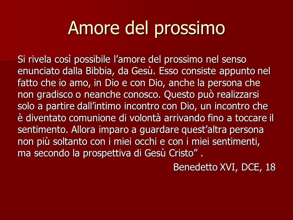 Amore del prossimo Si rivela così possibile lamore del prossimo nel senso enunciato dalla Bibbia, da Gesù. Esso consiste appunto nel fatto che io amo,