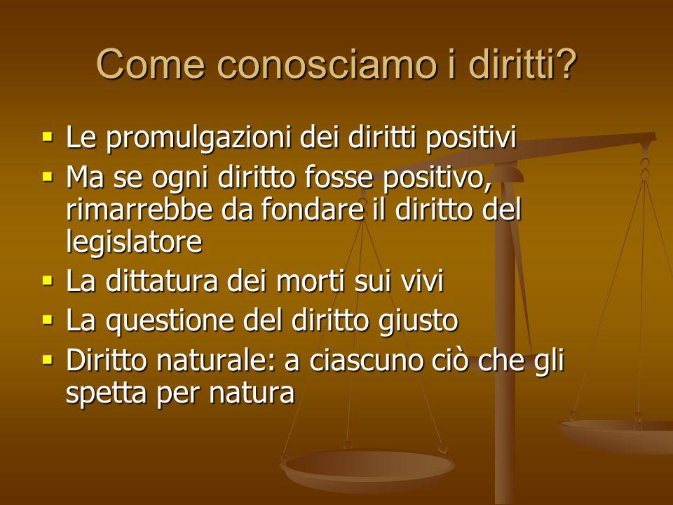 Come conosciamo i diritti? Le promulgazioni dei diritti positivi Le promulgazioni dei diritti positivi Ma se ogni diritto fosse positivo, rimarrebbe d