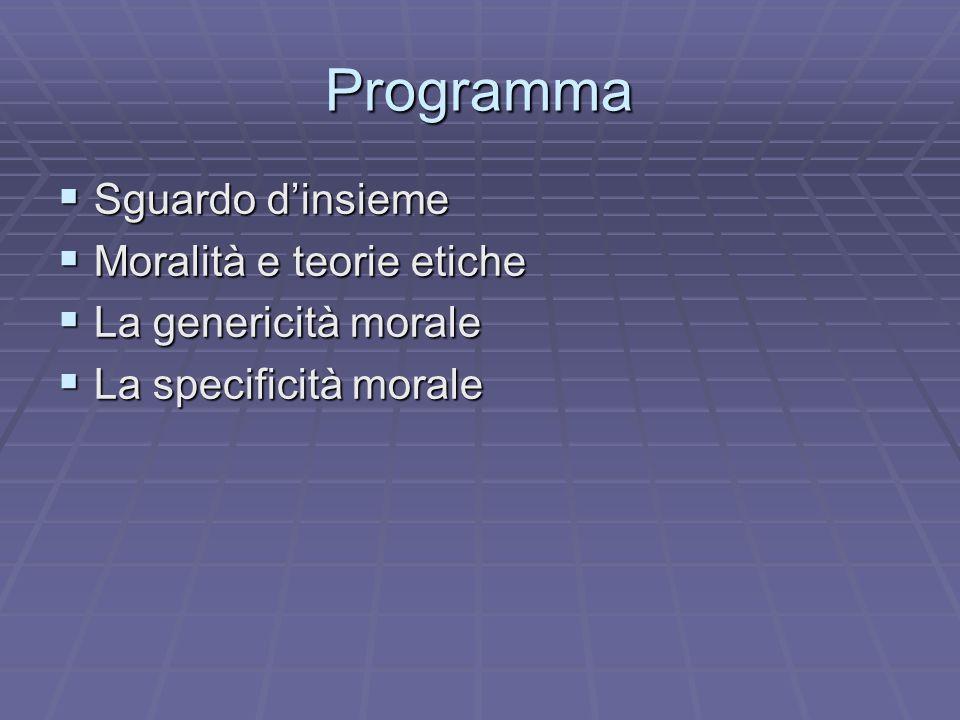 Programma Sguardo dinsieme Sguardo dinsieme Moralità e teorie etiche Moralità e teorie etiche La genericità morale La genericità morale La specificità