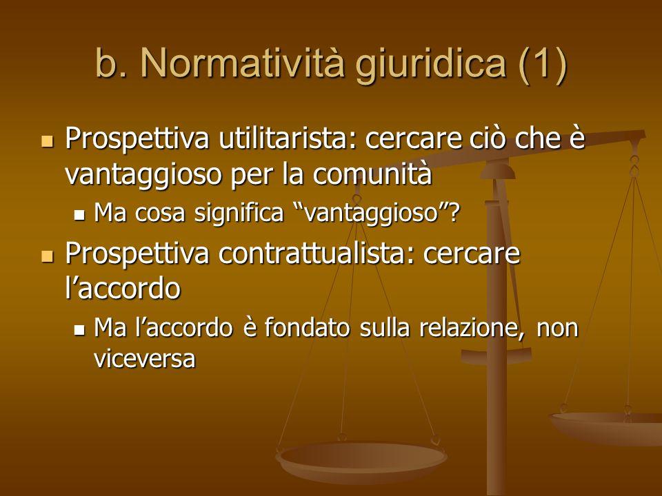 b. Normatività giuridica (1) Prospettiva utilitarista: cercare ciò che è vantaggioso per la comunità Ma cosa significa vantaggioso? Prospettiva contra