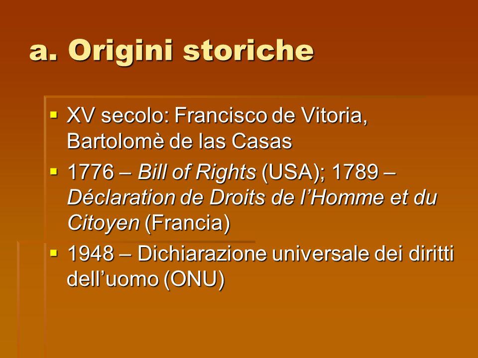a. Origini storiche XV secolo: Francisco de Vitoria, Bartolomè de las Casas 1776 – Bill of Rights (USA); 1789 – Déclaration de Droits de lHomme et du