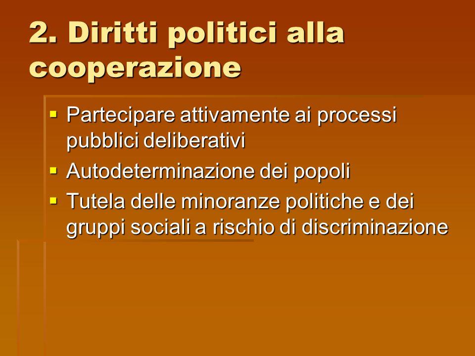 2. Diritti politici alla cooperazione Partecipare attivamente ai processi pubblici deliberativi Partecipare attivamente ai processi pubblici deliberat