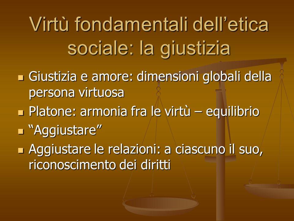 Virtù fondamentali delletica sociale: la giustizia 1.