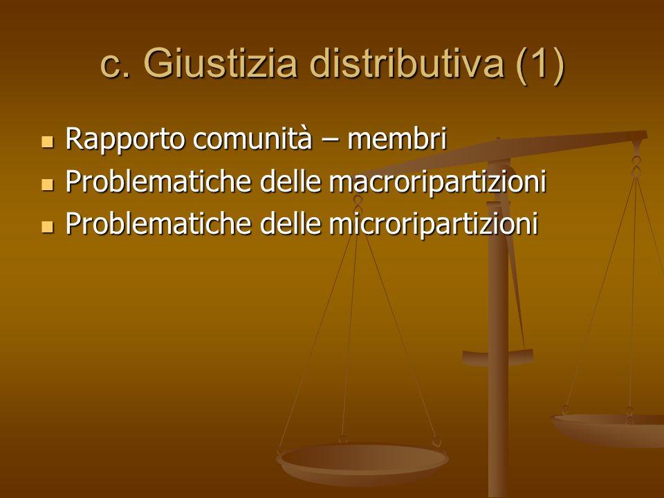 c. Giustizia distributiva (1) Rapporto comunità – membri Rapporto comunità – membri Problematiche delle macroripartizioni Problematiche delle macrorip