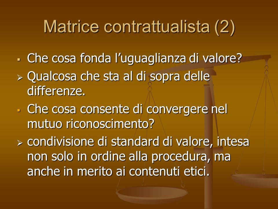 Matrice contrattualista (2) Che cosa fonda luguaglianza di valore.