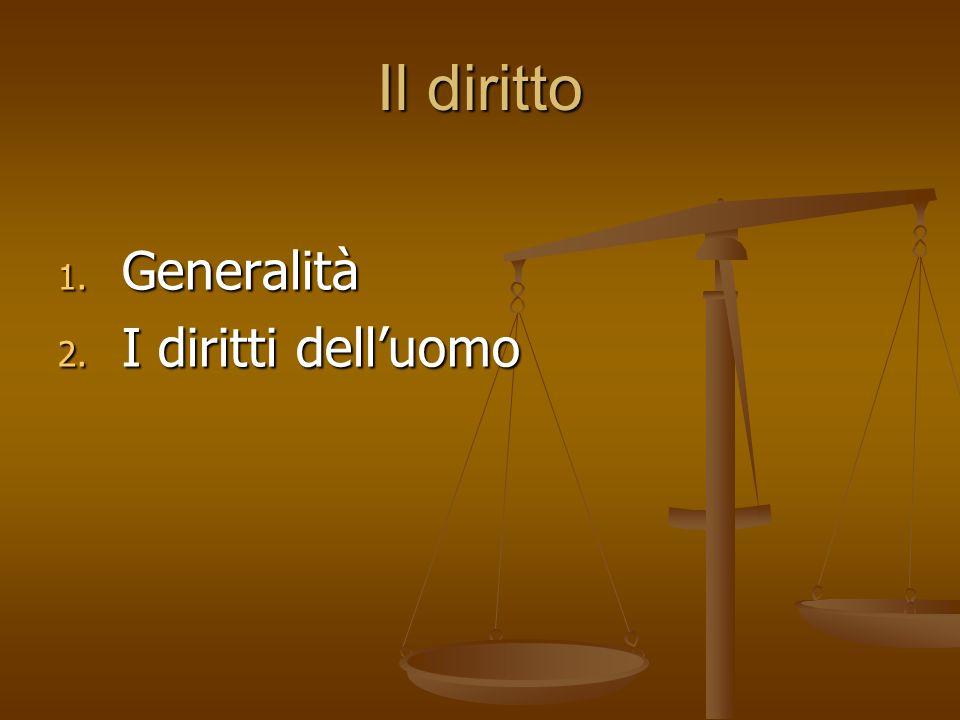 Il diritto – Generalità (1) Persona (comunità) soggetto di diritto diritto attivo cosa – prestazione oggetto di diritto diritto passivo facoltà morale di pretendere come propria