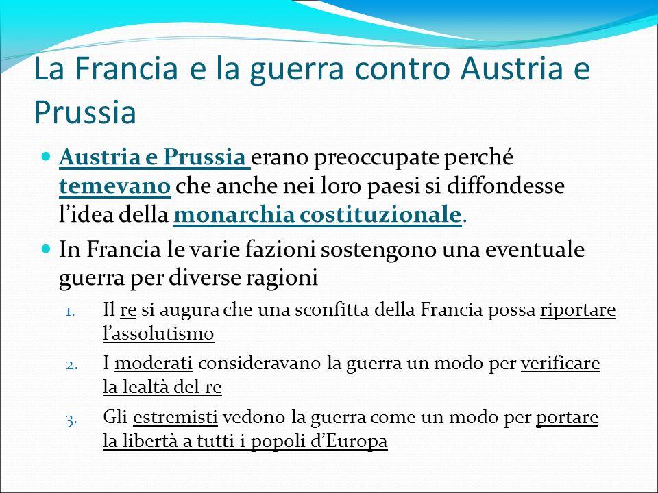 La Francia e la guerra contro Austria e Prussia Austria e Prussia erano preoccupate perché temevano che anche nei loro paesi si diffondesse lidea dell