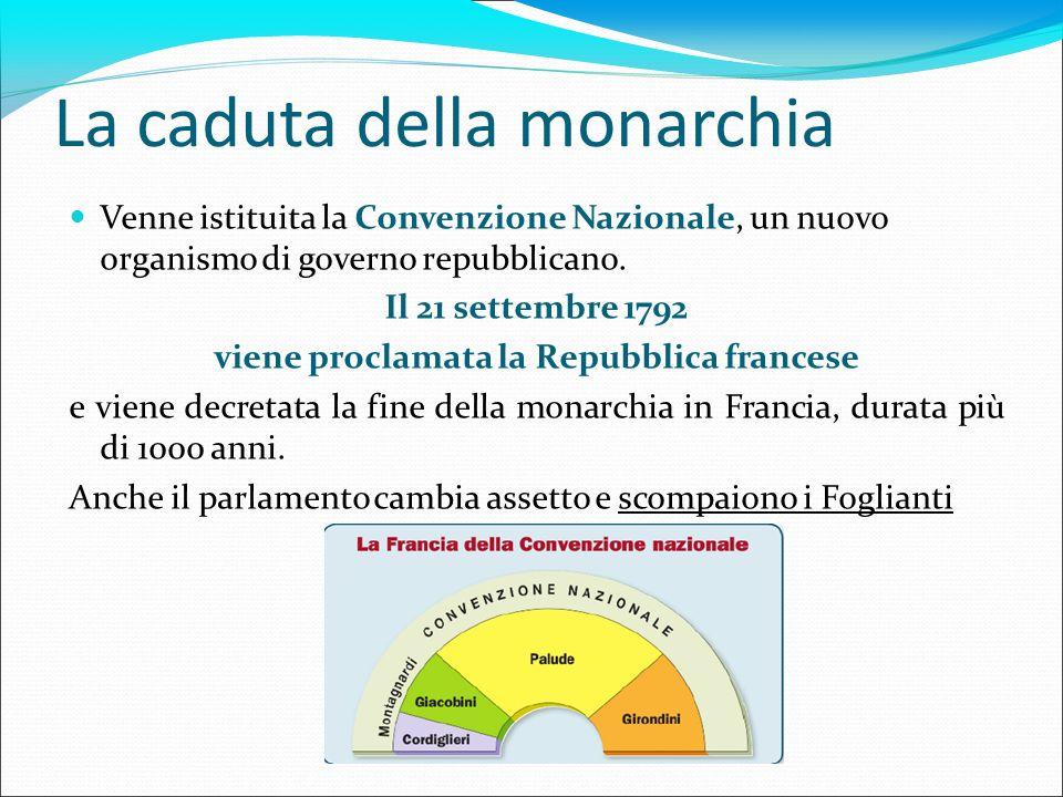 La caduta della monarchia Venne istituita la Convenzione Nazionale, un nuovo organismo di governo repubblicano. Il 21 settembre 1792 viene proclamata