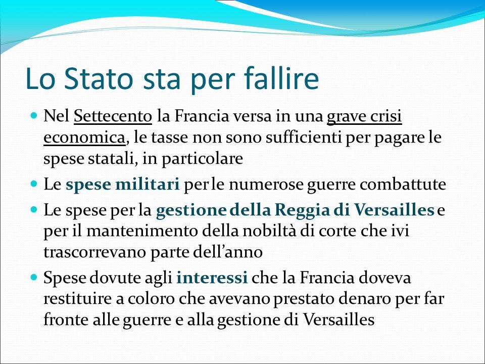 Lo Stato sta per fallire Nel Settecento la Francia versa in una grave crisi economica, le tasse non sono sufficienti per pagare le spese statali, in p