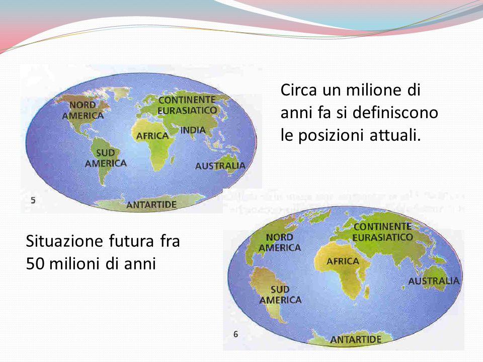 Circa un milione di anni fa si definiscono le posizioni attuali. Situazione futura fra 50 milioni di anni