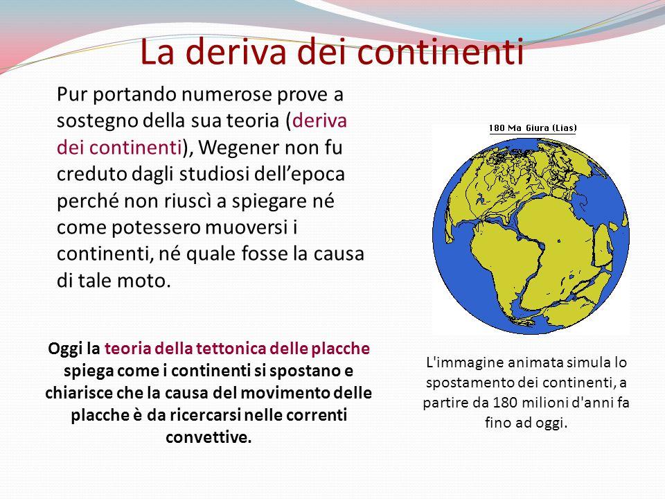 Pur portando numerose prove a sostegno della sua teoria (deriva dei continenti), Wegener non fu creduto dagli studiosi dellepoca perché non riuscì a spiegare né come potessero muoversi i continenti, né quale fosse la causa di tale moto.