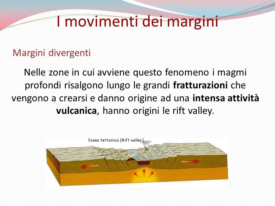 Margini divergenti Nelle zone in cui avviene questo fenomeno i magmi profondi risalgono lungo le grandi fratturazioni che vengono a crearsi e danno origine ad una intensa attività vulcanica, hanno origini le rift valley.