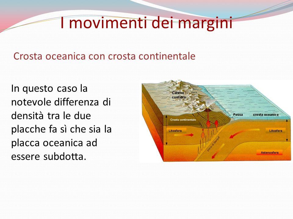 Crosta oceanica con crosta continentale In questo caso la notevole differenza di densità tra le due placche fa sì che sia la placca oceanica ad essere subdotta.