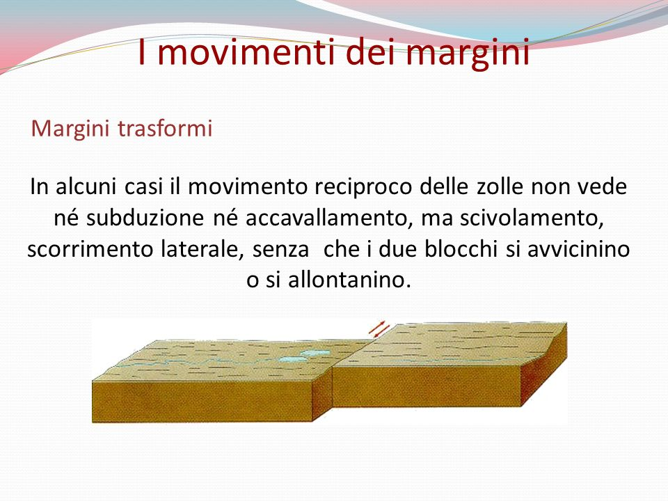 Margini trasformi In alcuni casi il movimento reciproco delle zolle non vede né subduzione né accavallamento, ma scivolamento, scorrimento laterale, s