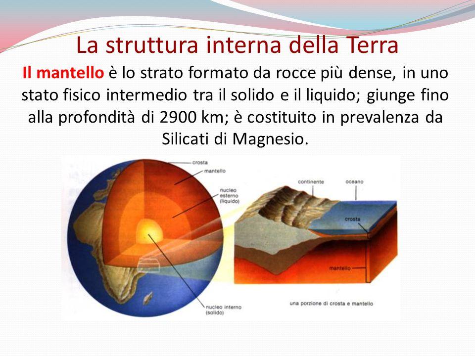 Il mantello è lo strato formato da rocce più dense, in uno stato fisico intermedio tra il solido e il liquido; giunge fino alla profondità di 2900 km; è costituito in prevalenza da Silicati di Magnesio.