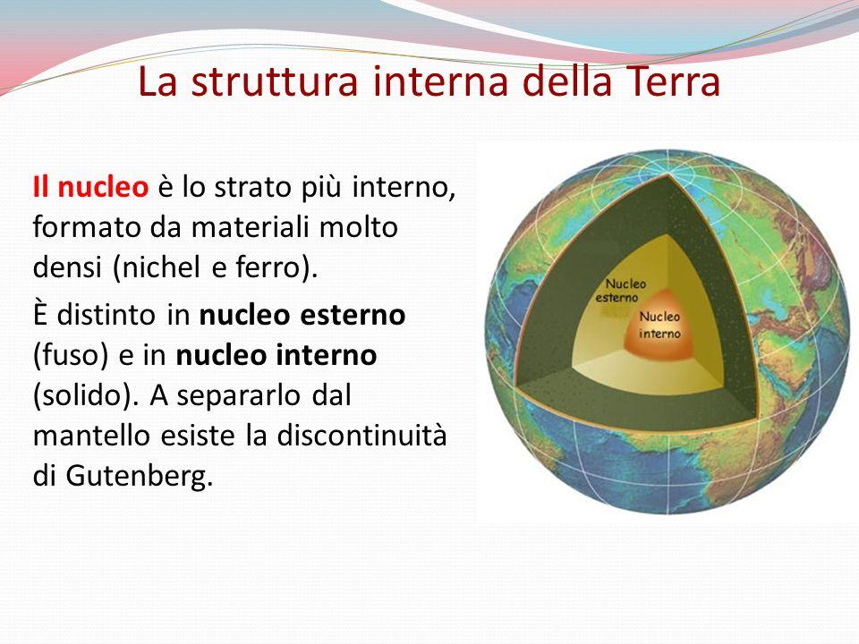 Il nucleo è lo strato più interno, formato da materiali molto densi (nichel e ferro).