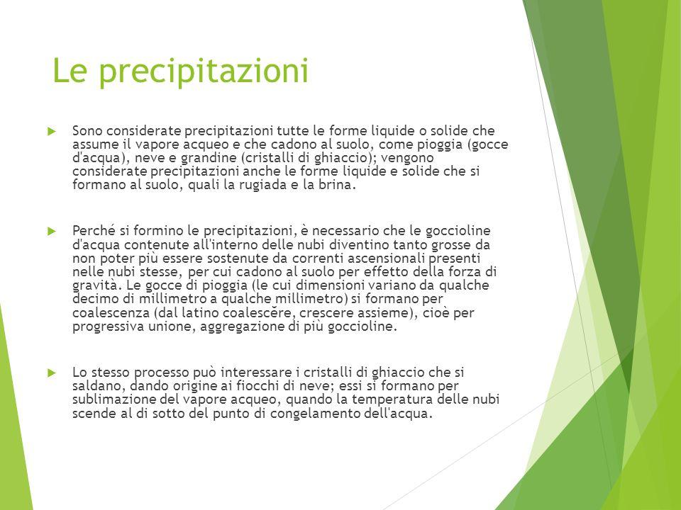 Le precipitazioni Sono considerate precipitazioni tutte le forme liquide o solide che assume il vapore acqueo e che cadono al suolo, come pioggia (goc
