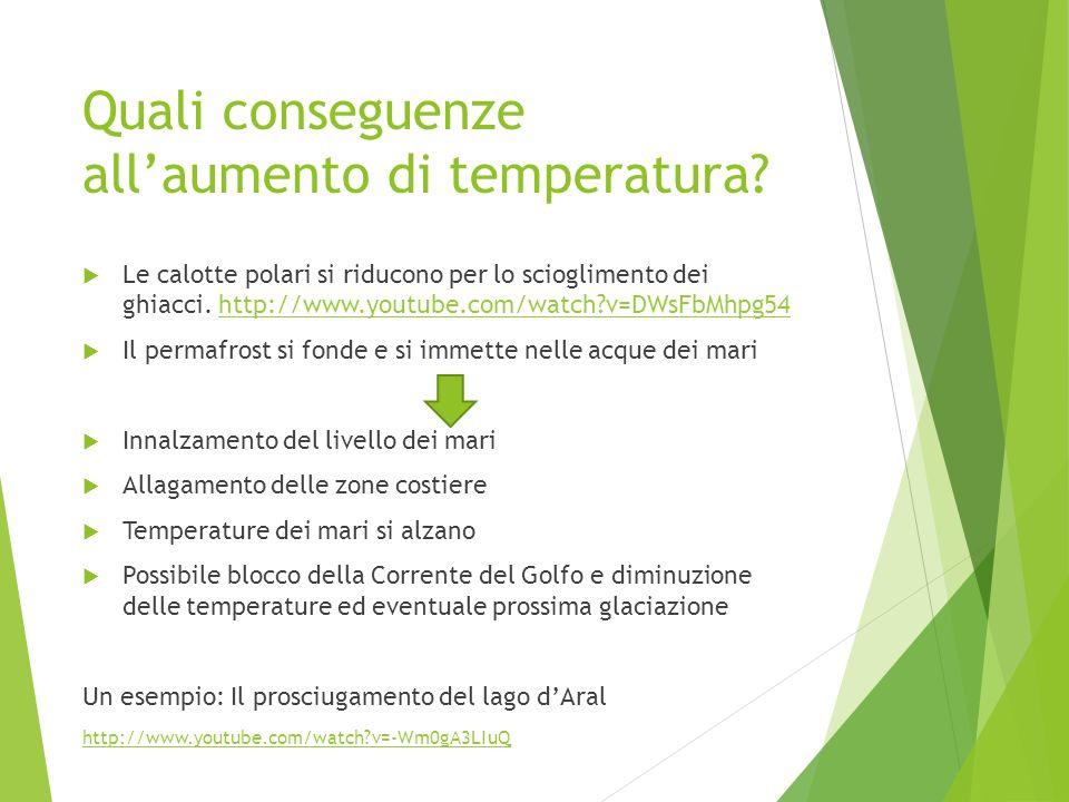 Quali conseguenze allaumento di temperatura? Le calotte polari si riducono per lo scioglimento dei ghiacci. http://www.youtube.com/watch?v=DWsFbMhpg54