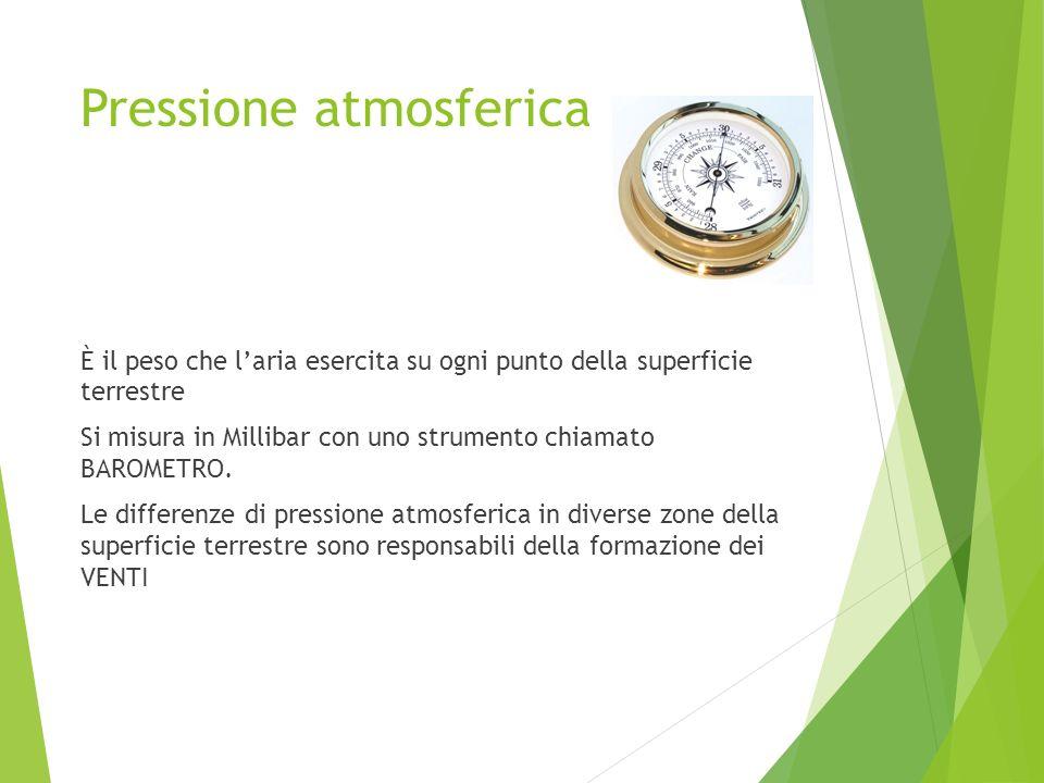 Pressione atmosferica È il peso che laria esercita su ogni punto della superficie terrestre Si misura in Millibar con uno strumento chiamato BAROMETRO