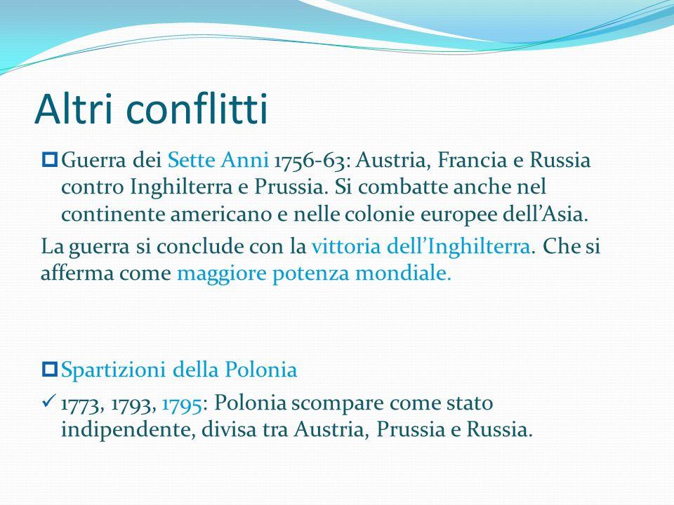 Altri conflitti Guerra dei Sette Anni 1756-63: Austria, Francia e Russia contro Inghilterra e Prussia.