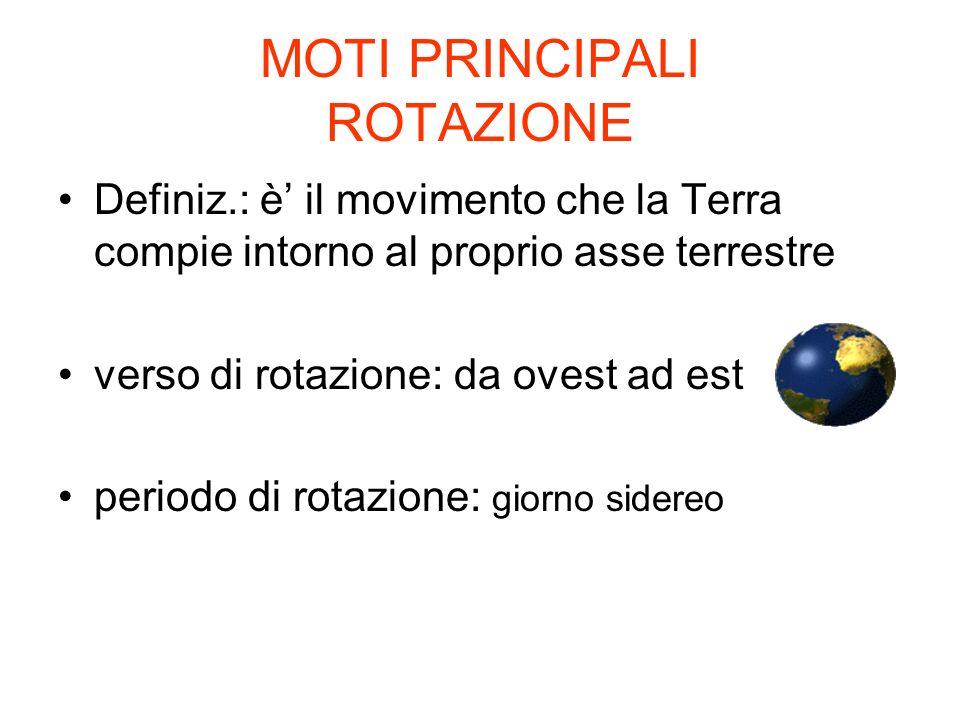 MOTI PRINCIPALI ROTAZIONE Definiz.: è il movimento che la Terra compie intorno al proprio asse terrestre verso di rotazione: da ovest ad est periodo d